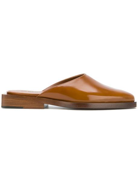 Jil Sander women mules leather brown shoes