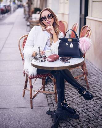 jacket white jacket shoes black shoes leggings black leggings sunglasses black sunglasses handbag black handbag bag