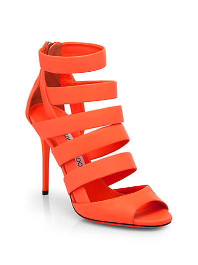 Jimmy Choo - Dame Neon Leather Strappy Sandals - Saks.com