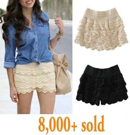 Hot Fashion Womens Lady Korean Sweet Crochet Tiered Lace Shorts Skorts Short New | eBay