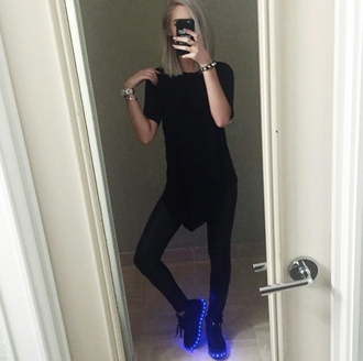 shoes on point clothing shoe game sneakers black blue light up shoes all black everything edgy instagram cool girl dope swag cool shoes