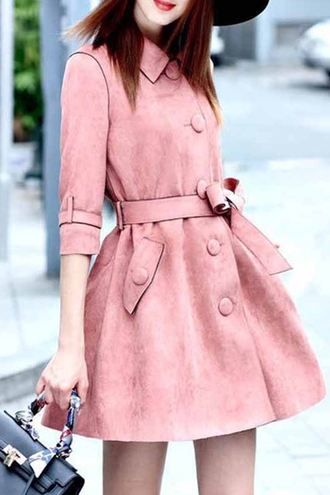 coat pink trendy fashion style trench coat summer fall outfits cute girly faux suede turn down collar half sleeve trench coat