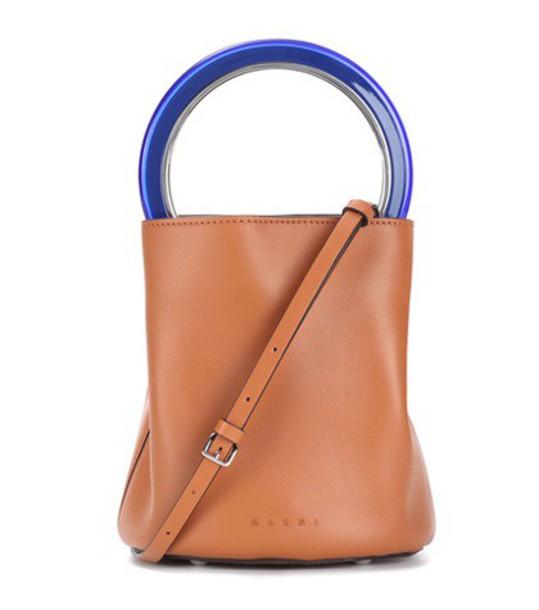 MARNI bag bucket bag leather brown