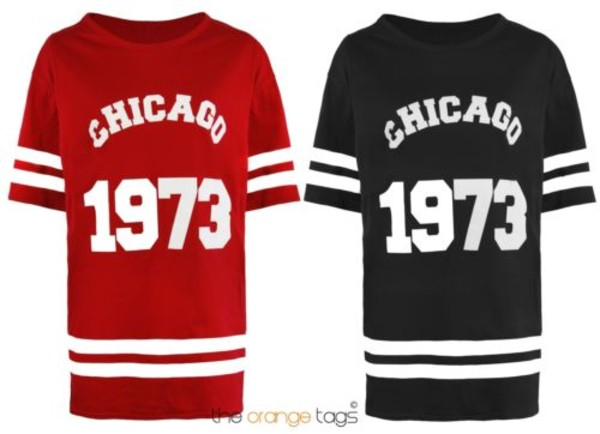 shirt women girl chicago stripes sport t-shirt t-shirt top red black chicago 1973 dress basketball t-shirt swag