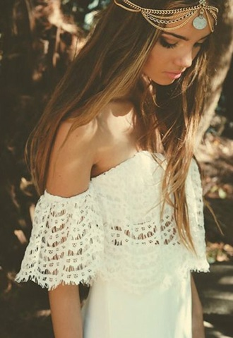 blouse jewelry head jewels headpiece gold jewelry accessories accessory music festival coachella hair accessory dress lace dress white dress prom dress summer dress boho dress bohemian dress fashion cute boho wedding dress jewels bohostyle hair adornments summer outfits hippie girl girly cute shirt t-shirt shirt top cute top outfit boho vintage style coat cute dress summer white lace boho chic india love hippie jewelry jewerly bohemian chain white costume white clothing white collar gold white lace white clothes indie boho brunnette fs off the shoulder festival boho jewelry spring romantic