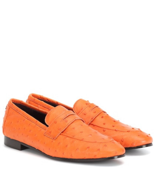 Bougeotte Flaneur ostrich leather loafers in orange
