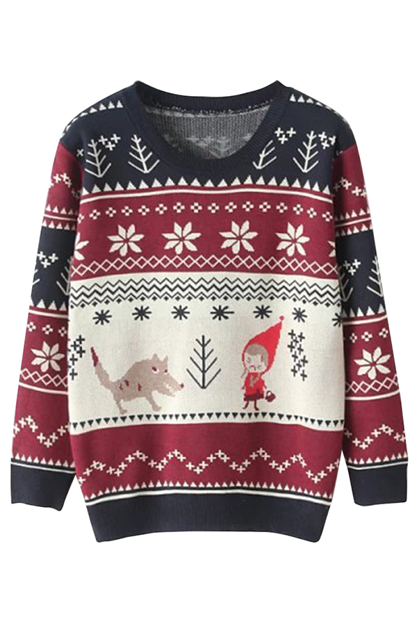 Red Riding Hood Snowflake Jumper Ugly Christmas Sweater