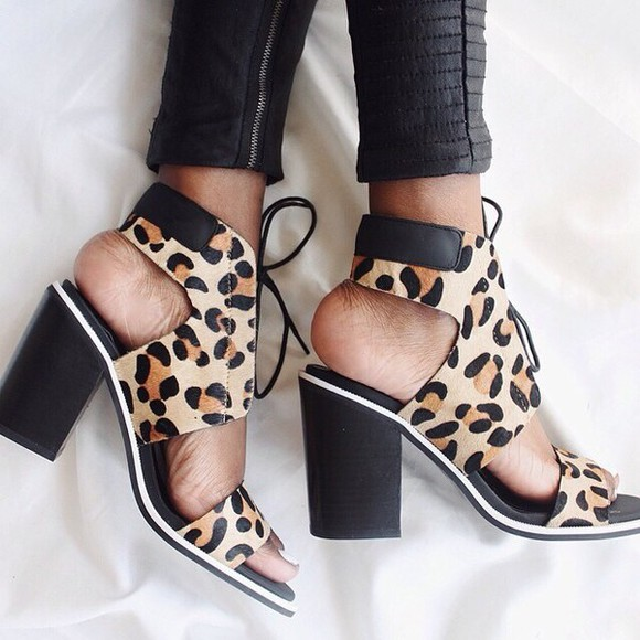 leopard print shoes heels with bows laces black leopard print leopard print block heel black heel cheetah print shoe