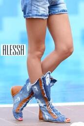 shoes,denim boots,denim sandals,summer boots,summer sandals,sandals,summer shoes,beach,holidays,travel