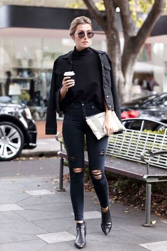 jeans black jacket black sweater leather boots white purse blogger sunglasses black ripped jeans
