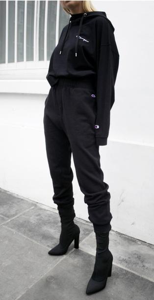 e3f6b5c1e797 pants black tight loose joggers shoes outfit champion