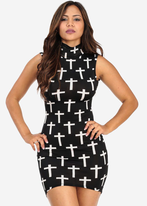 Lethalbeauty ? black and white cross print high low dress