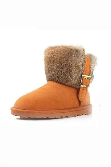 Cute Woolen Snow Boots with Buckle [FABI1495]- US$83.99 - PersunMall.com