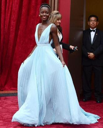 dress blue oscars 2014 long lupita nyong'o