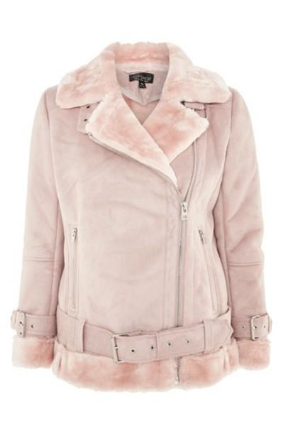 Topshop jacket biker jacket pink