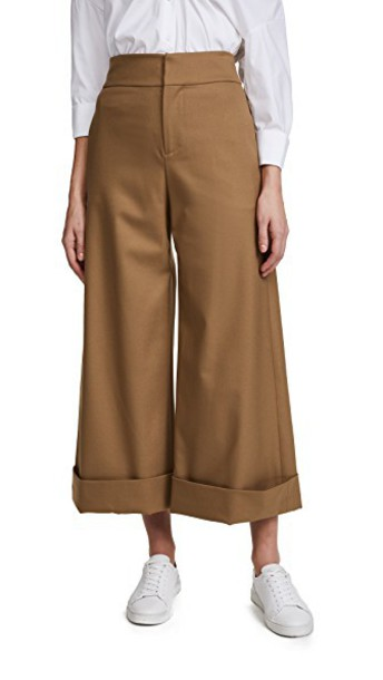 alice + olivia pants high waisted high tan