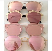 sunglasses,sunnies,pink sunglasses,mirrored sunglasses,round sunglasses,accessories,Accessory,rose gold,aviator sunglasses,gold,glasses