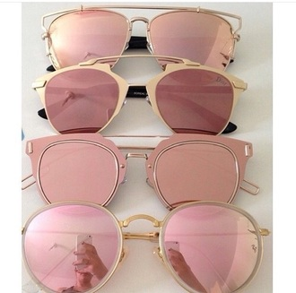 sunglasses sunnies pink sunglasses mirrored sunglasses round sunglasses rose gold aviator sunglasses gold glasses accessories accessory pink pink sunglesses creme