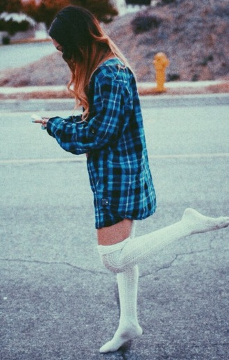 coat cute outfit winter outfits girly hipster urban over the knee socks knee high socks white plaid blue and black help for help socks