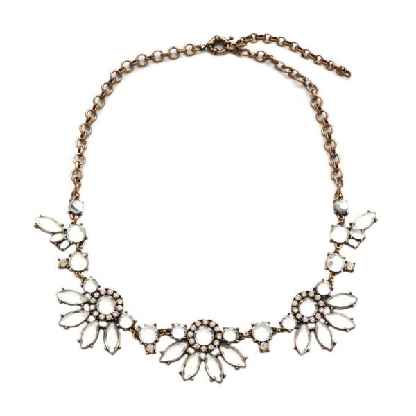 Crystal flowers bib statement necklace