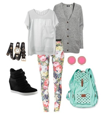 leggings colorful cardigan floral pink earrings backpack wedge sneakers outfit jewels bag top shoes