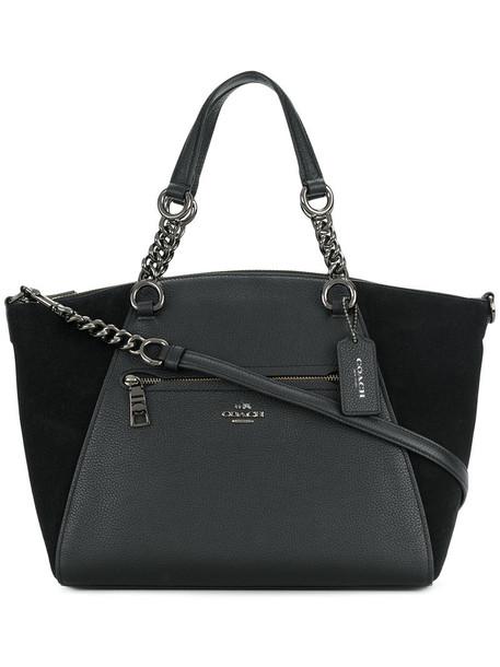 coach satchel women leather black bag