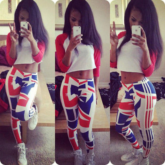 white shoes iphone case leggings red blue white crop tops beautiful girl swag long hair nice body peace blouse