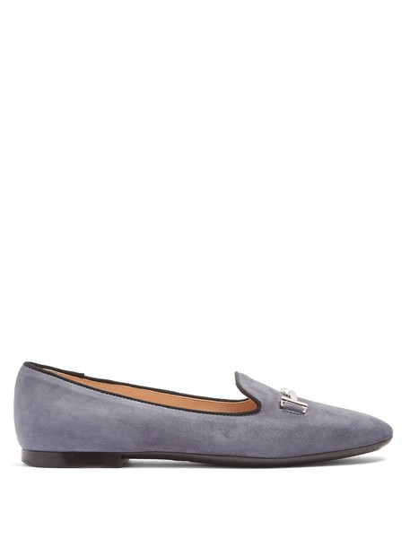 TOD'S ballet flats ballet flats suede blue shoes