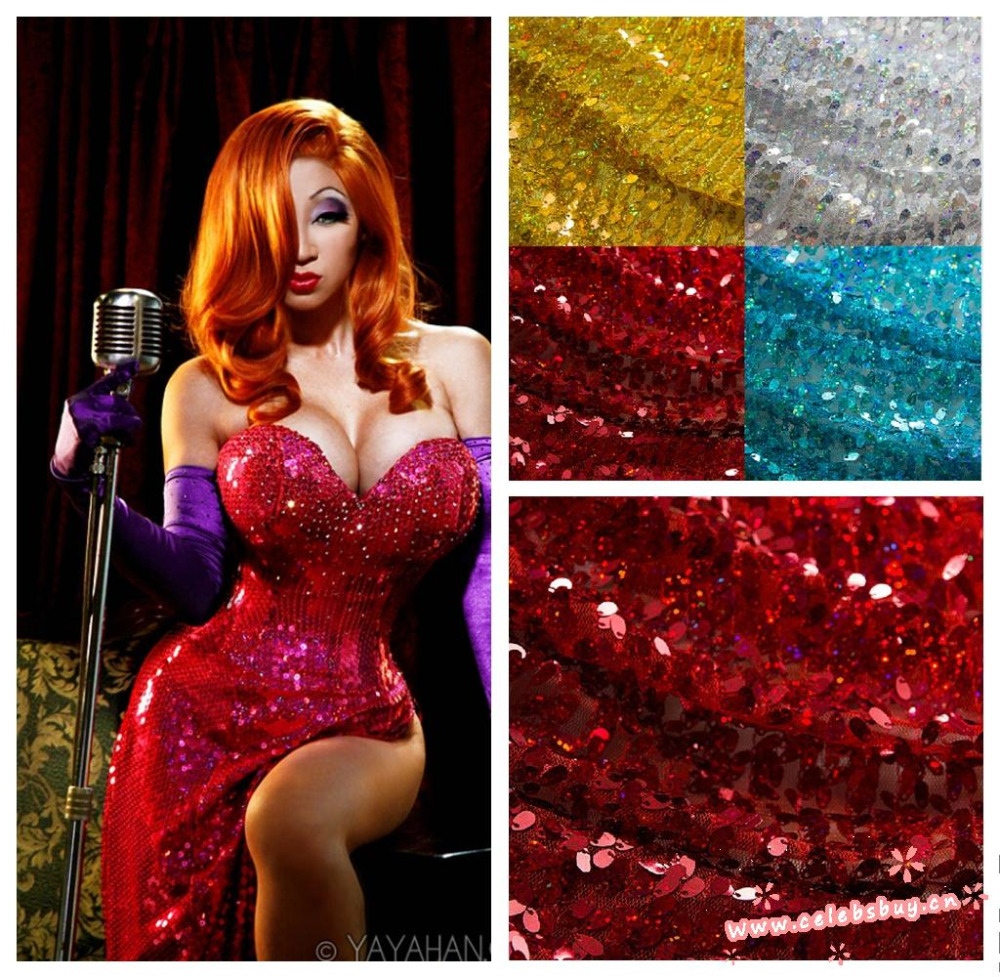 Free shipping high quality jessica rabbit red dress katy perry sequin dress costume halloween 2014 wholesale prom dress