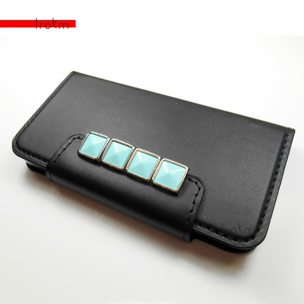 bag mint silver iphone case iphone 5c wallet phone case black vegan leather