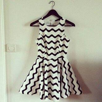 dress skater dress black and white dress chevron