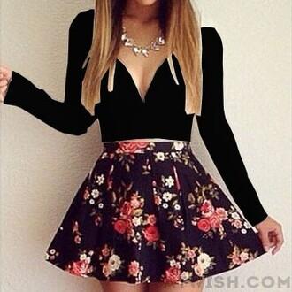 dress mini dress long sleeve dress deep v print