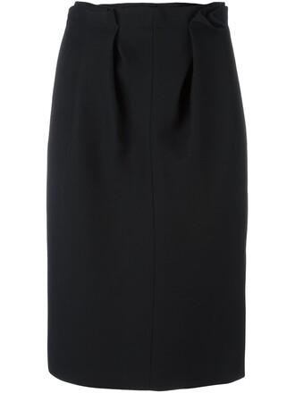 skirt pencil skirt pleated women black silk wool