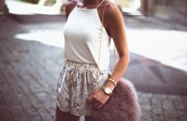 bag,blouse,high waisted,fluffy,handbag,top,shorts,loose,cute,outfit,jewels,pink bag,fur,gold chain bag,faux fur bag,chain strap bag,dusky pink,shoulder bag,snake print,snake print pants