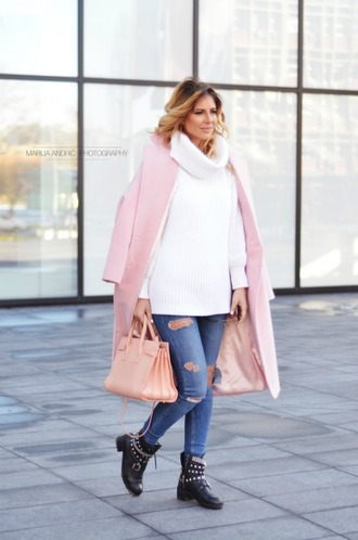 coat ripped jeans studded shoes pink blazer blogger pink bag white turtleneck sweater