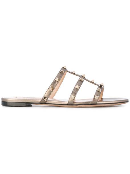 Valentino women sandals leather grey shoes