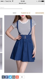 skirt,denim,jeans,suspenders,fashion,blue,cute,girly,dezzal