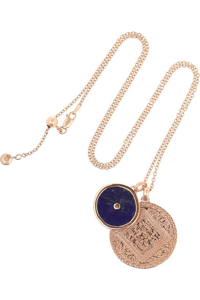 Monica Vinader | Marie and Atlantis Kandy rose gold-plated lapis lazuli necklace | NET-A-PORTER.COM