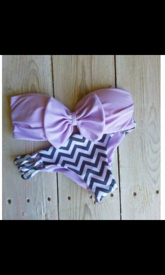 swimwear bow bandeau bows cut-out swimsuit chevron