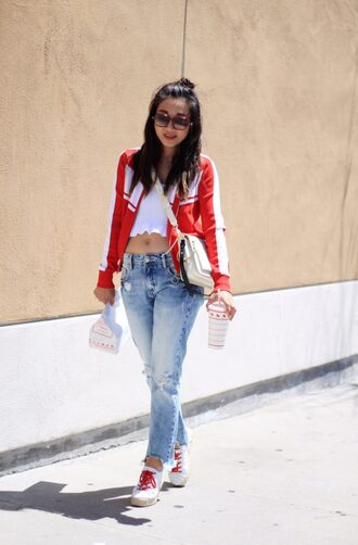 top white top crop tops denim jeans sneakers jacket bag