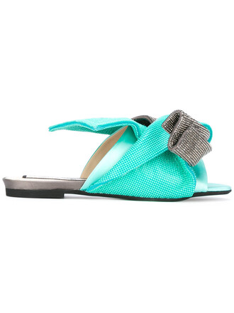 bow metallic women sandals flat sandals leather green shoes