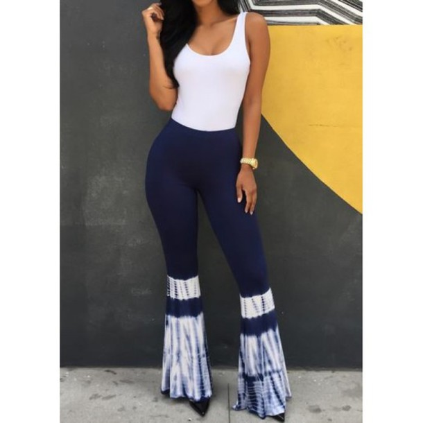 d5dff009dd jumpsuit girl girly girly wishlist tie dye flare pants blue and white