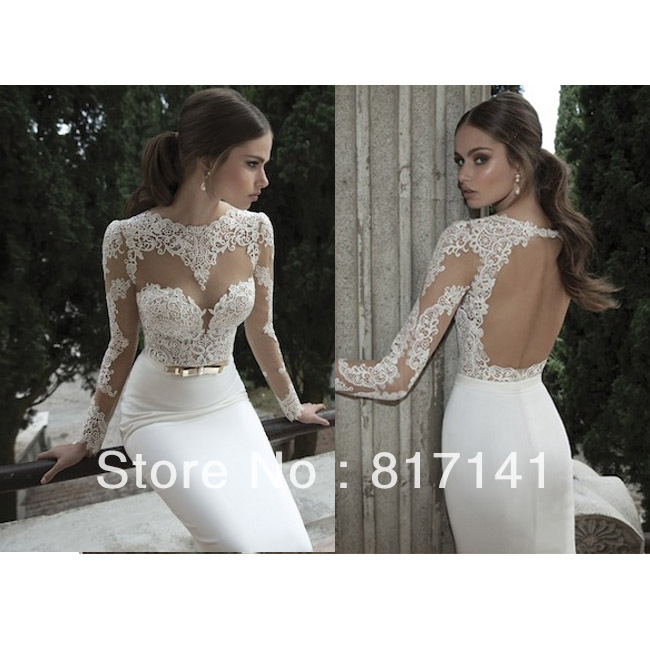 Vestido De Noiva 2014 Sexy Open Back Lace Wedding Dresses Long Sleeve Wedding Dress 2014 Lace Wedding Dress Vestido De Casamento-in Wedding Dresses from Apparel & Accessories on Aliexpress.com