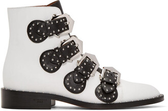 studded elegant boots white shoes