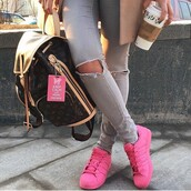 shoes,starbucks coffee,pink,adidas,pharell,louis vuitton,ripped jeans,purse,trendy