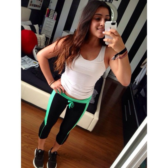 black leggings leggings green pants black , workout , leggings green stripe black and green