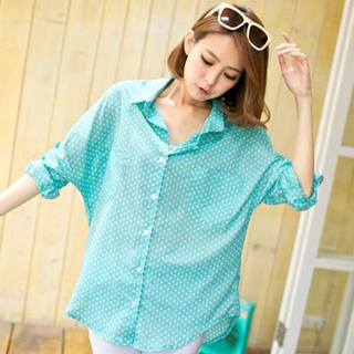 Tab-Sleeve Star-Print Shirt - Tokyo Fashion | YESSTYLE