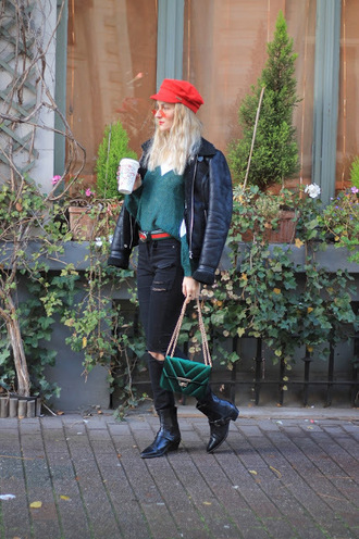 from brussels with love blogger belt sweater jeans shoes jacket bag sunglasses red hat fall outfits boots green bag grey sweater