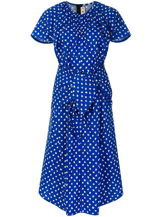 dress women draped cotton blue pattern