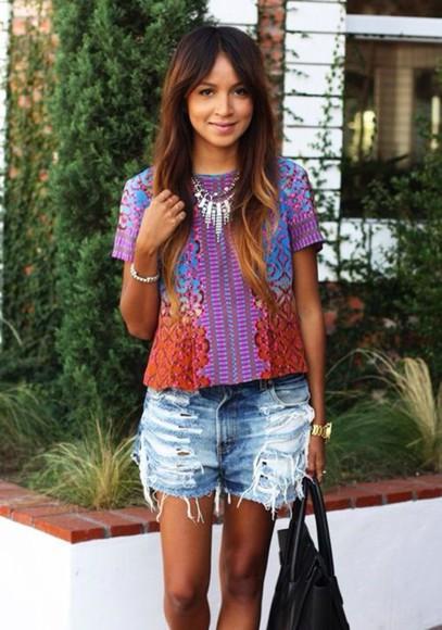 orange top purple tropical blouse tribal pattern